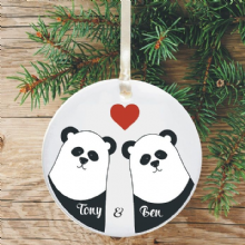 Personalised Christmas Tree Decoration - Panda Couple Heart Design